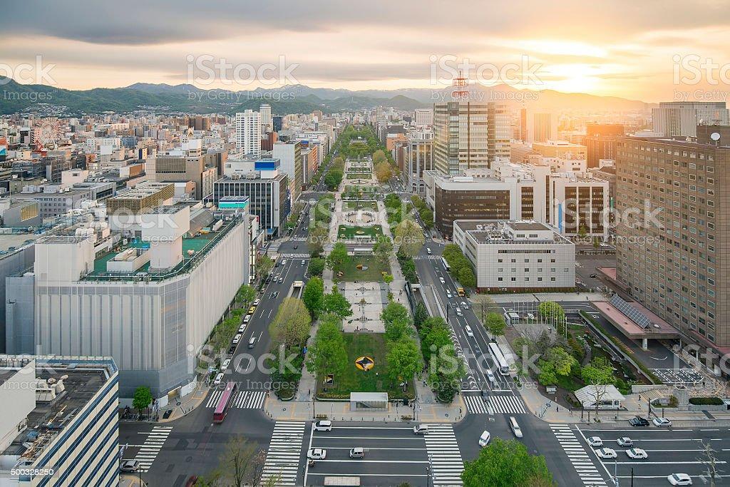 札幌の街には、大通公園、北海道、日本 - 2015年のロイヤリティフリーストックフォト