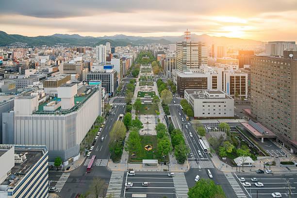 cityscape of sapporo at odori park, hokkaido, japan - sapporo stock photos and pictures