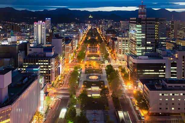 cityscape of sapporo at odori park, hokkaido, japan.sapporo is t - sapporo stock photos and pictures