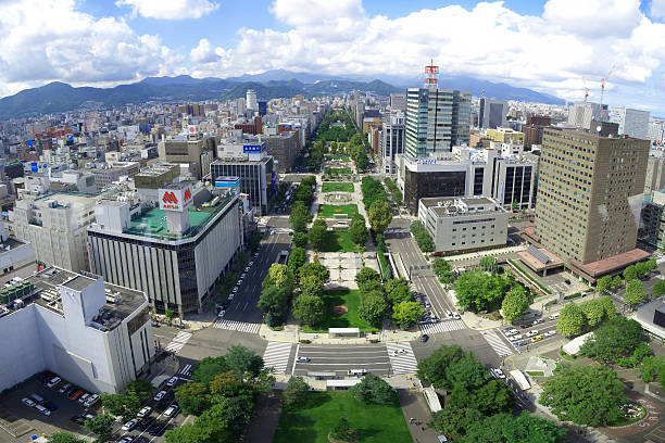cityscape of sapporo through a window of sapporo tv tower - sapporo stock photos and pictures