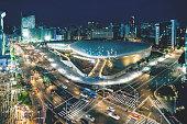 Aerial shot of the Dongdaemun at night in seoul,South Korea