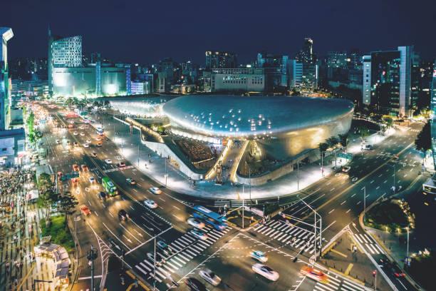 Stadtbild von Seoul in der Dämmerung, Südkorea – Foto