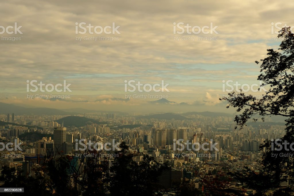 Cityscape of Seoul, South Korea stock photo