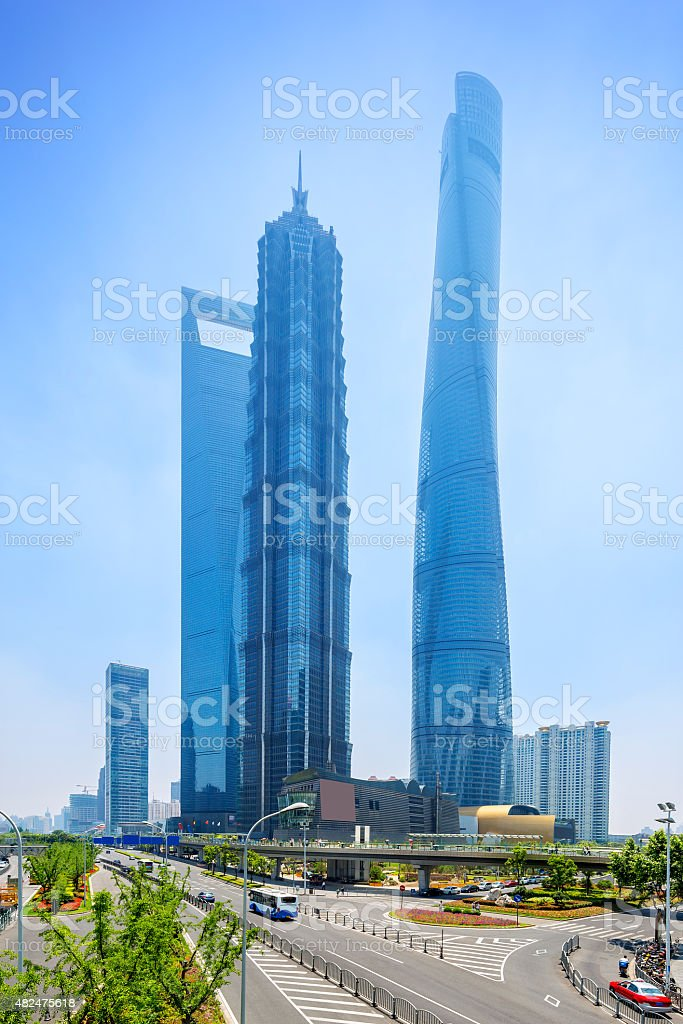 cityscape of shanghai and traffic on road stock photo