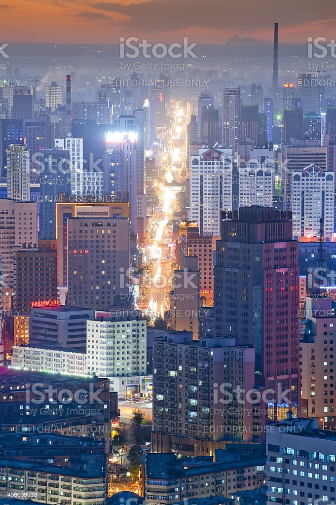 Cityscape of Shenyang at sunset moment, China stock photo