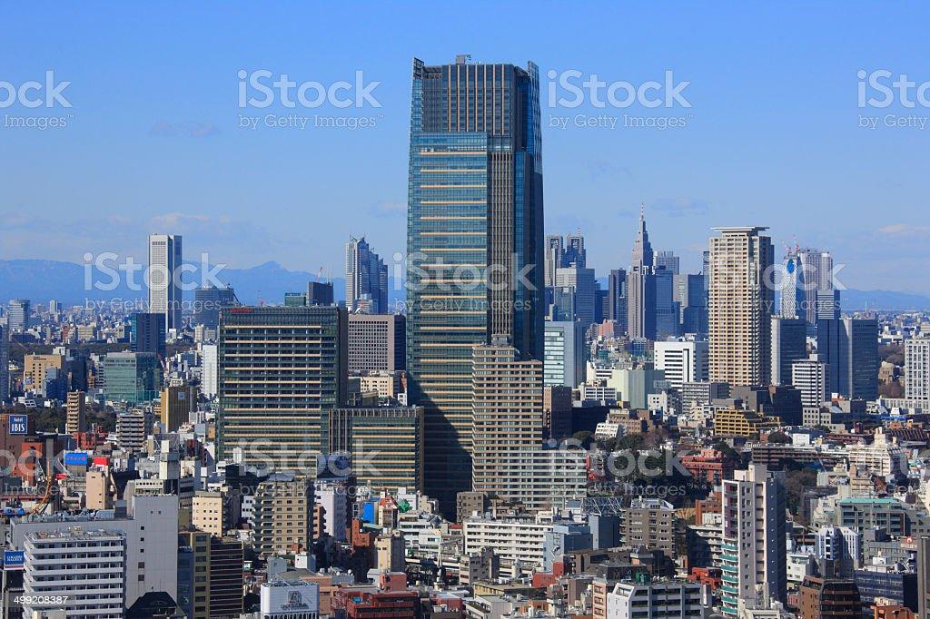 Cityscape of Shinjiku Sckyscrapers and Mt. Fuji stock photo