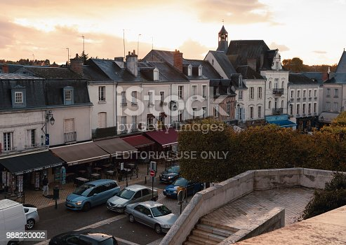 istock Cityscape of small French town at evening 988220002
