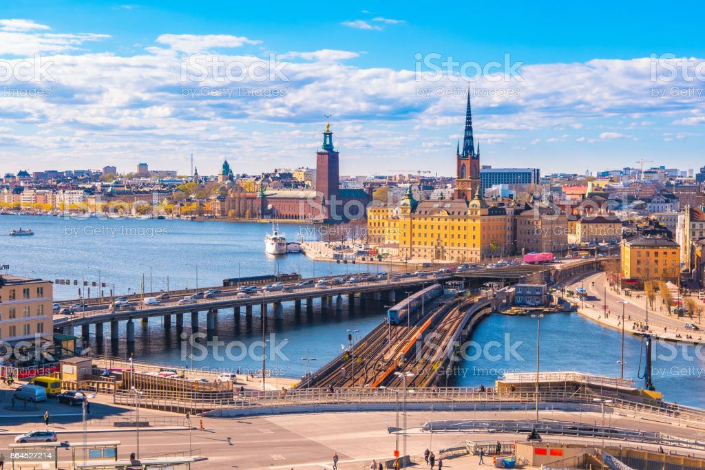 Cityscape of Stockholm city skyline in Stockholm, Sweden stock photo