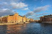 Stockholm, Sweden - December 08, 2017: Cityscape of gamla Stan, Stockholm.
