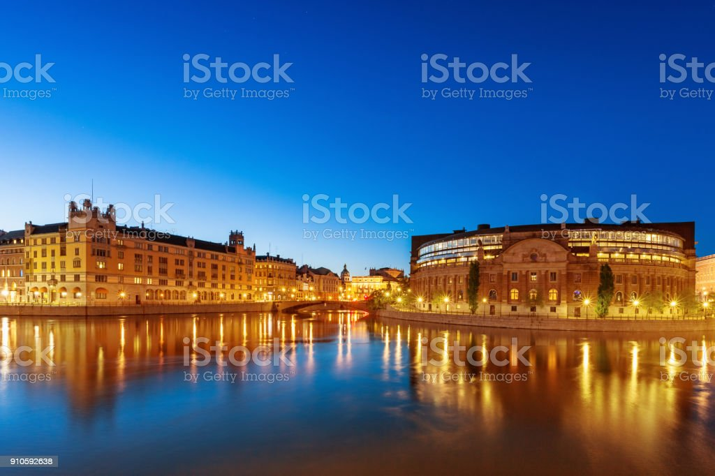 Cityscape of Stockholm Sweden with the Swedish Parliament building stock photo