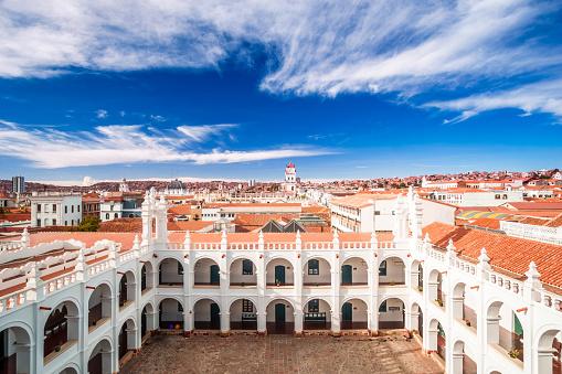 Cityscape of Sucre and San Felipe Neri in Bolivia