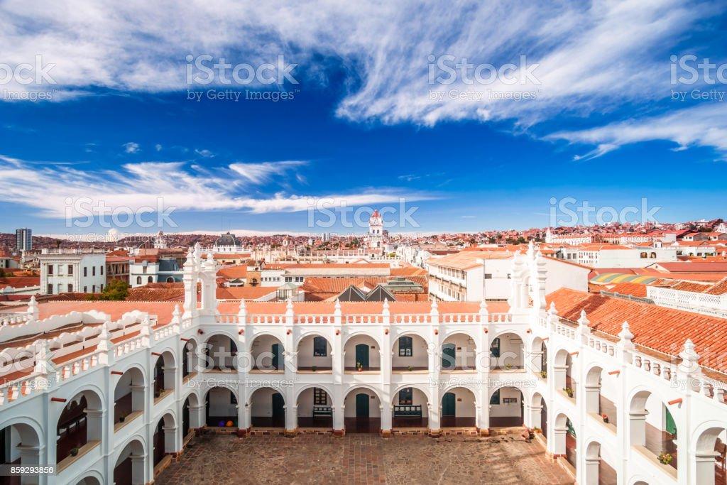 Cityscape of Sucre and San Felipe Neri in Bolivia stock photo