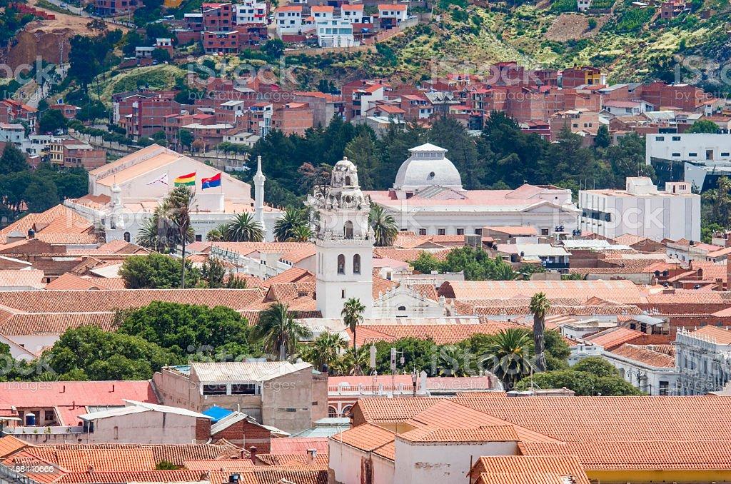Cityscape of Sucre, Bolivia stock photo
