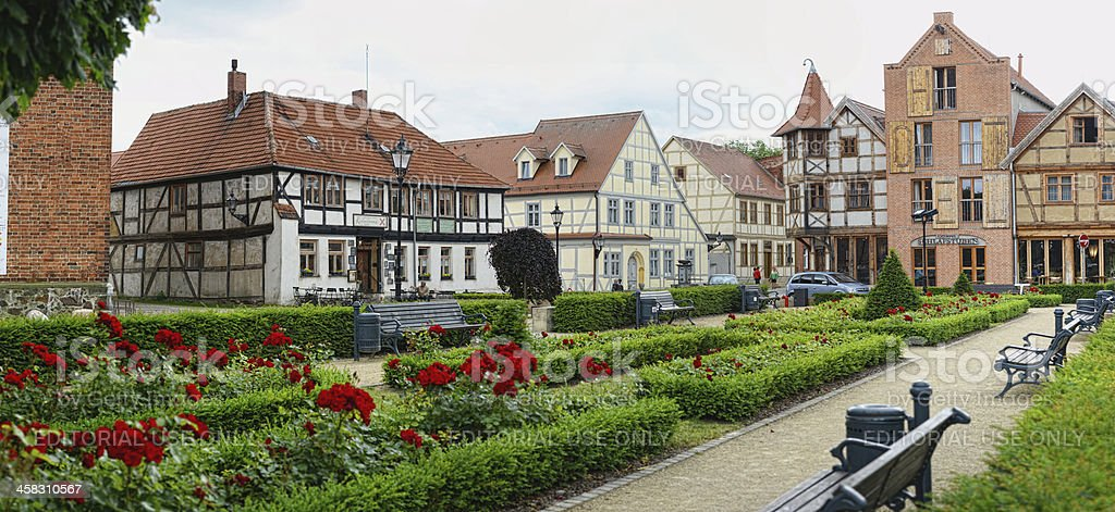 Cityscape of Tangermünde with rose garden and Half-timbered houses. royalty-free stock photo