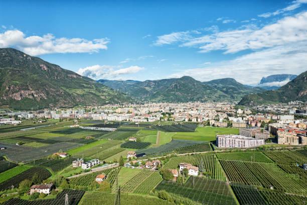 Cityscape of the city Bolzano, Bozen in South Tyrol Italy stock photo