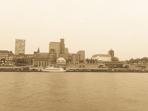 Cityscape of the city of Hamburg from the Elbe river. Hamburg, Germany