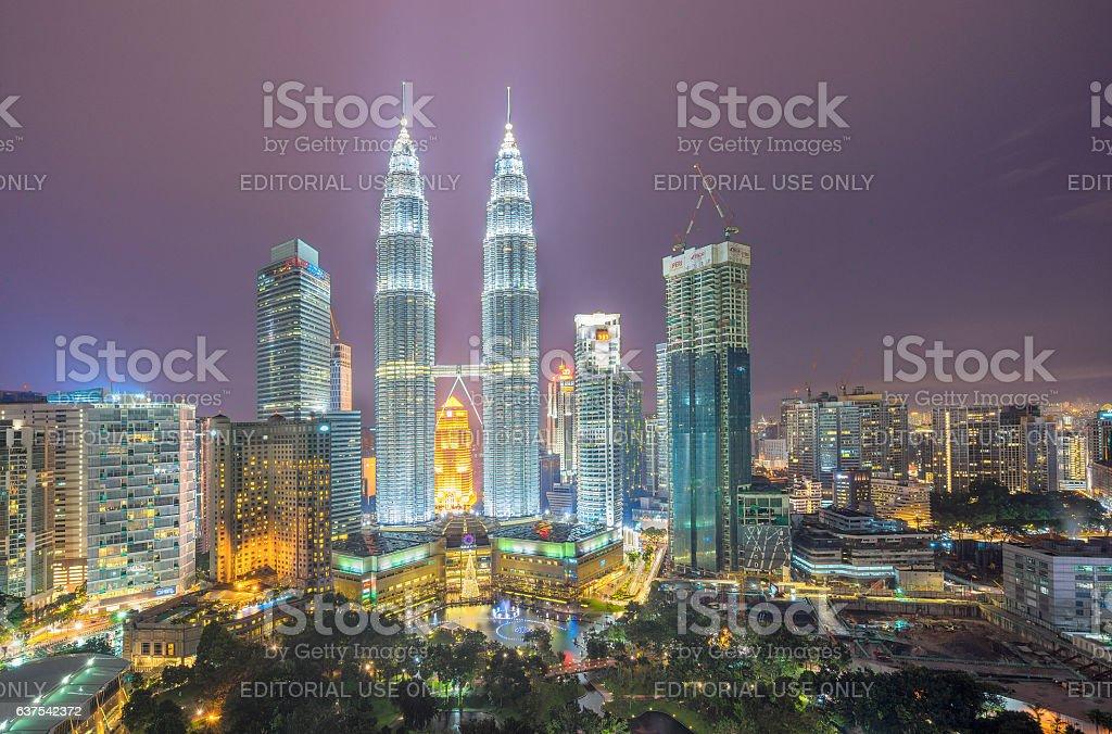 Cityscape of the Kuala Lumpur and Petronas Twin Towers stock photo