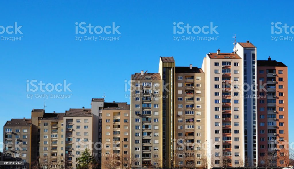 Cityscape of the residential quarter of Nova Gorica in Slovenia, the modernist city, an example of socialist architecture stock photo