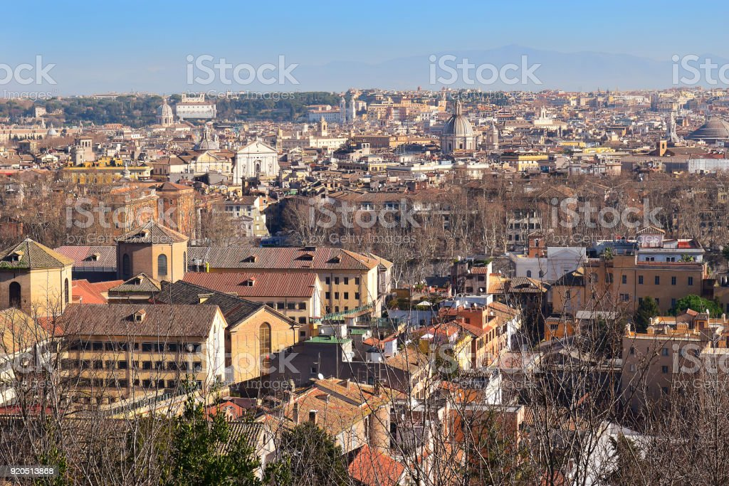 cityscape of the Rome from the height of the Janiculum Hill stock photo