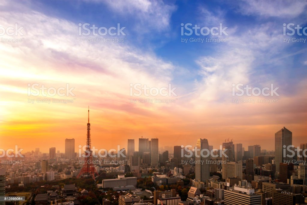 Cityscape of Tokyo, city aerial skyscraper view of office building and downtown of tokyo with sunset / sun rise background. Japan, Asia stock photo