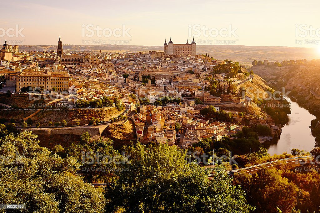 Cityscape of Toledo in Spain at sunrise stock photo