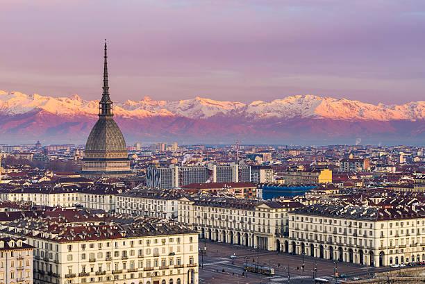 Cityscape of Torino (Turin, Italy) at sunrise stock photo