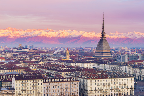 Cityscape of Torino (Turin, Italy) at sunrise