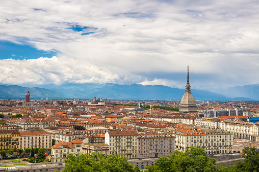 Cityscape of Torino (Turin, Italy) from above with dramatic sky