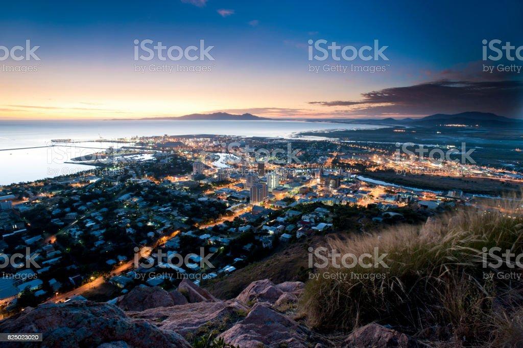 Cityscape of Townsville at dusk, Australia stock photo