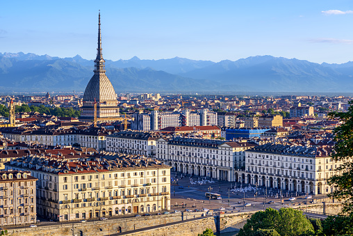 Cityscape of Turin and Alps mountains, Turin, Italy