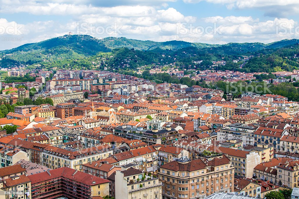 Paisaje urbano de turín en Italia foto de stock libre de derechos