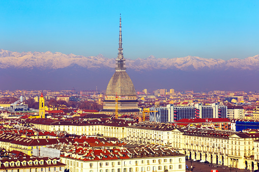 Cityscape of Turin with Mole Antonelliana, Italy