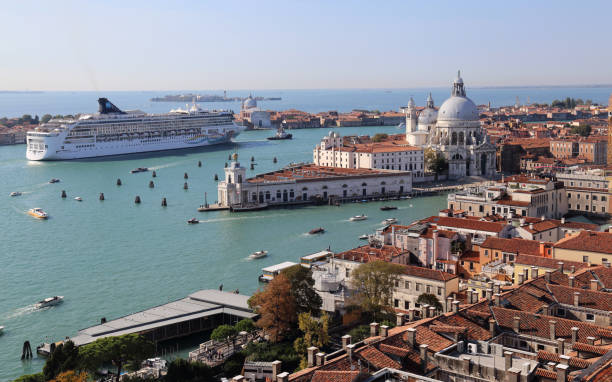 Cityscape of Venice, Italy, from the San Marco clock tower stock photo