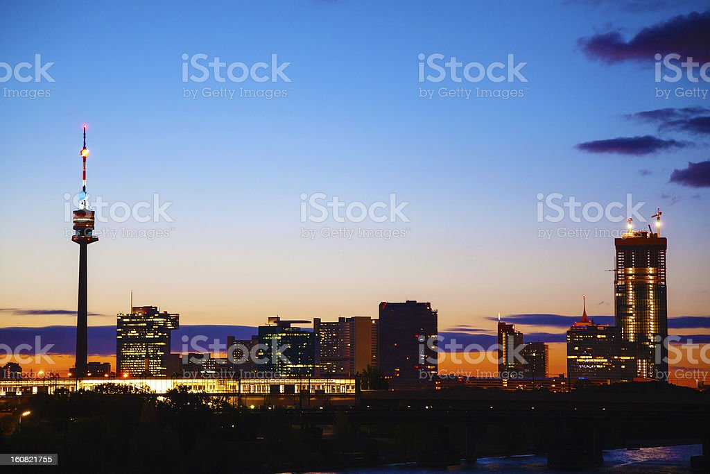 Cityscape of Vienna downtown as seen from the park royalty-free stock photo