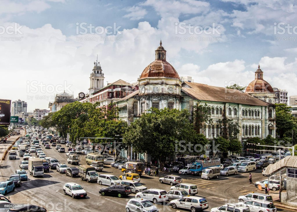Cityscape of Yangon city, Myanmar stock photo