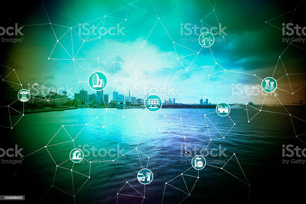 cityscape on the coast, smart energy, smart grid stock photo