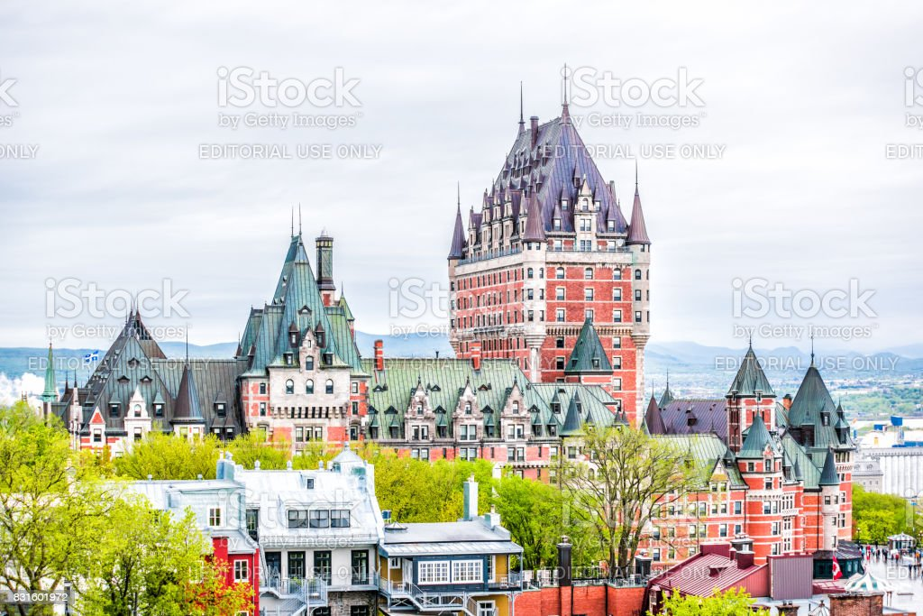 Cityscape or skyline of Chateau Frontenac and old town stock photo
