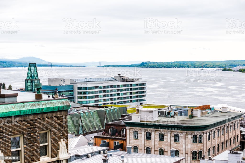Cityscape or skyline of lower old town buildings with view of Saint Lawrence river in Quebec City, Canada stock photo
