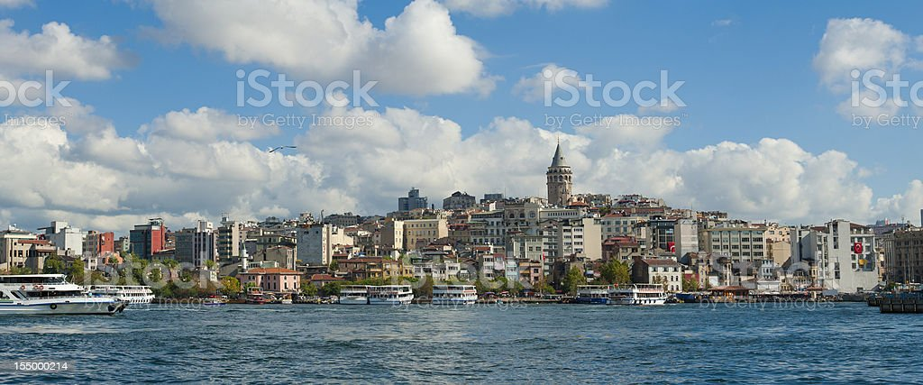 Cityscape over Bosphorus in Istanbul stock photo