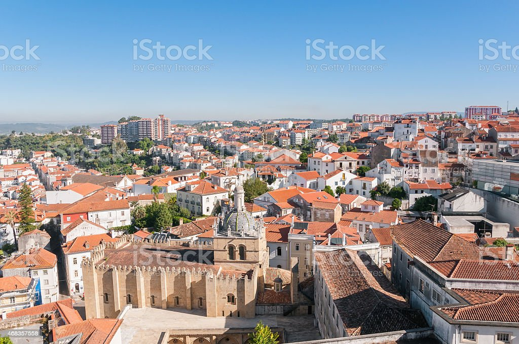 Cityscape over the roofs of Coimbra in Portugal royalty-free stock photo