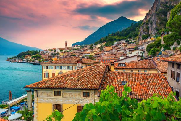 Cityscape panorama of Limone sul Garda, Lombardy region, Italy, Europe stock photo