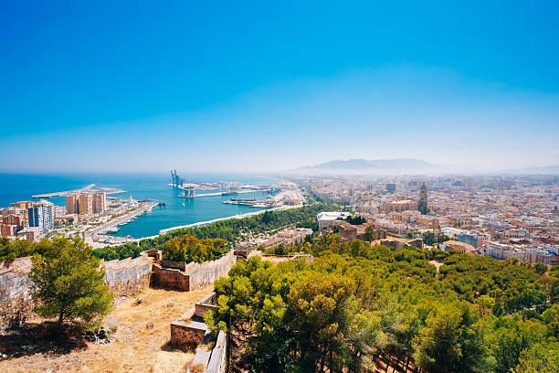 Cityscape Panoramic Aerial View Of Malaga, Spain. Panorama stock photo