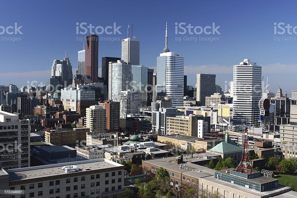 A cityscape photo of downtown Toronto, Canada on a clear day royalty-free stock photo