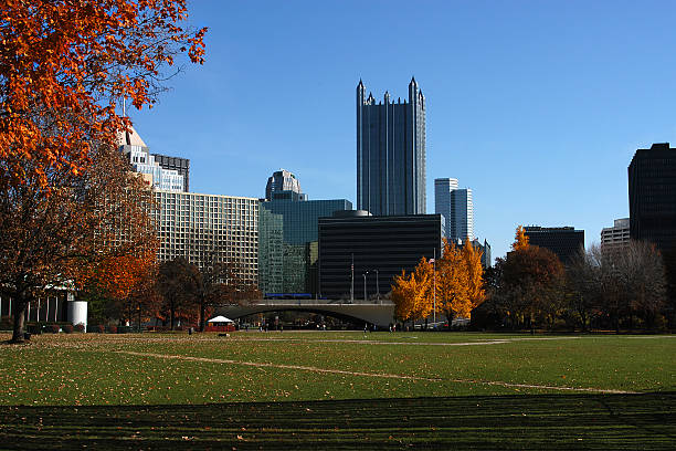 Cityscape Pittsburgh Pennsylvainia skyline, photographed from the Point State Park. acute angle stock pictures, royalty-free photos & images