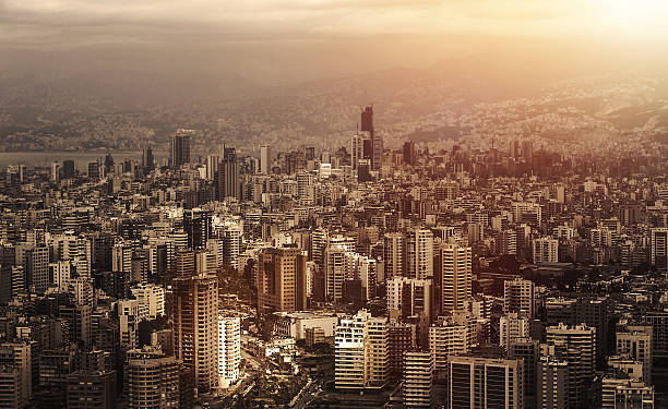 Cityscape Aerial view of beautiful cityscape on sunset, arabic architecture, down town, middle east, Lebanon, travel and vacation concept beirut stock pictures, royalty-free photos & images