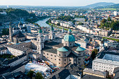 Cityscape of  the famous and picturesque Salzburg holiday tourist resort city in Austria, Europe
