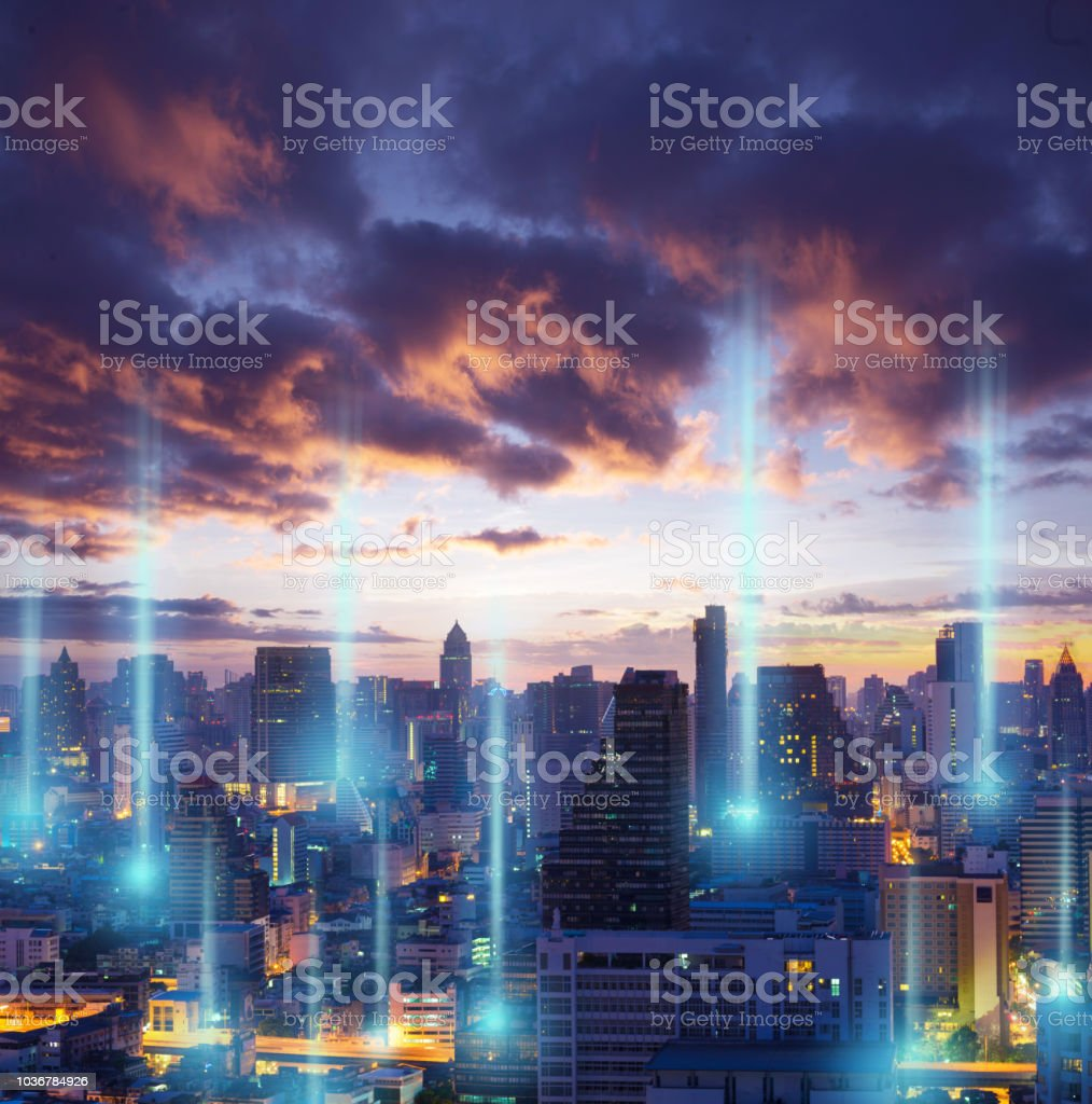 Cityscape scifi technology with illustration of power cell technology concept. stock photo