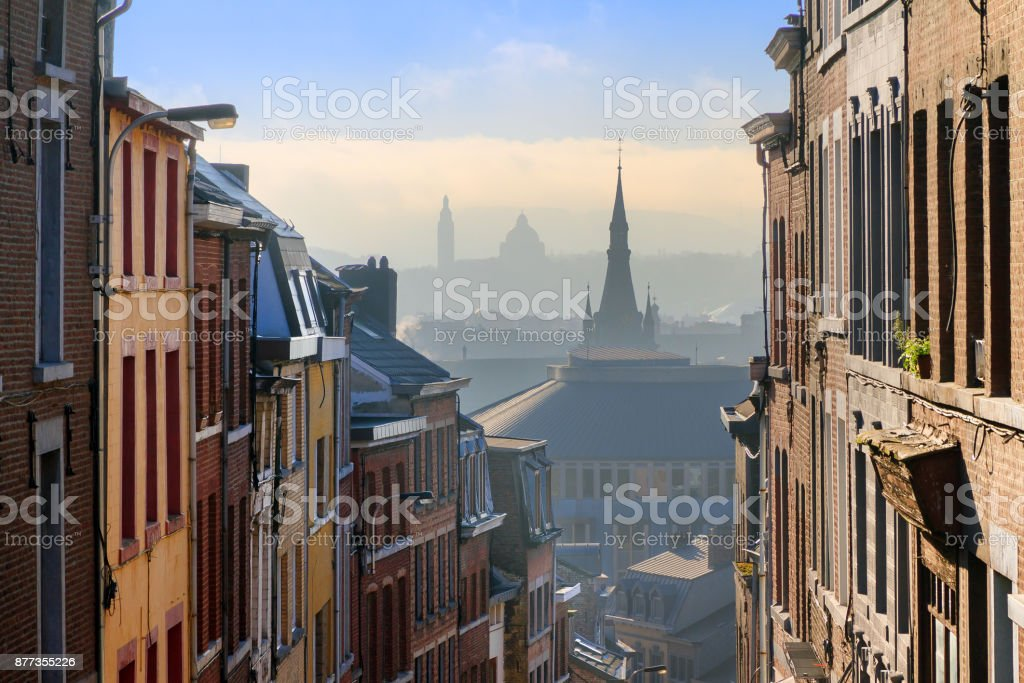 Cityscape see through Liege stock photo