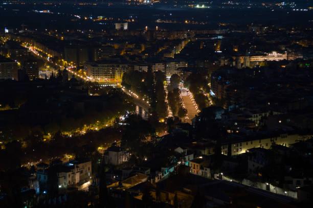 Cityscape seen from Mirador del Barranco del Abogado Lookout in Granada, Spain stock photo