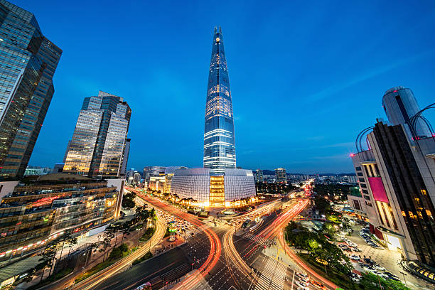 Cityscape Songpagu Skyscrapers Lotte World Tower at Night Seoul stock photo
